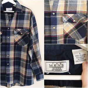 🔹SOLD🔹Vtg. Sears Plaid Flannel Button Up Shirt